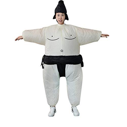 DEjasnyfall Fan aufblasbare Sumo Kleid Neuheit Fetter Mann und Frau Suite Fett maskierten Anzug Fancy Blow Up Kleid Wrestler Kostüm (weiß & schwarz)