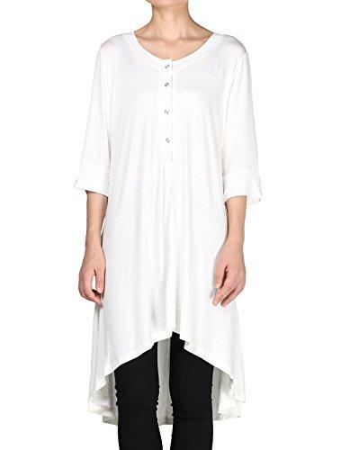 Hohe Qualität T-shirt (Vogstyle Damen Halbe Hülsen Tief Lose Beiläufige Hoch Niedrig T-Shirt Spitze Tee Kleid Weiß 4XL)