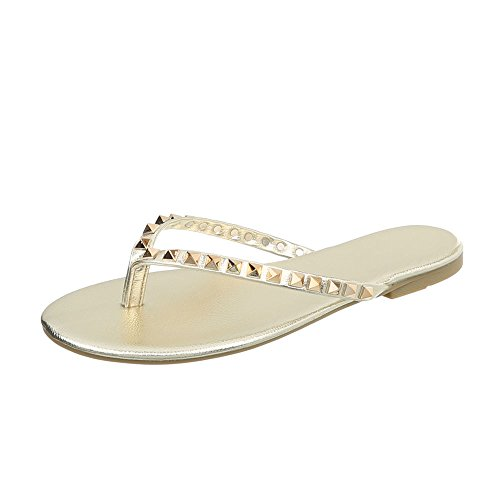 Ital-Design Zehentrenner Damen-Schuhe Blockabsatz Sandalen & Sandaletten Gold, Gr 38, 8099-