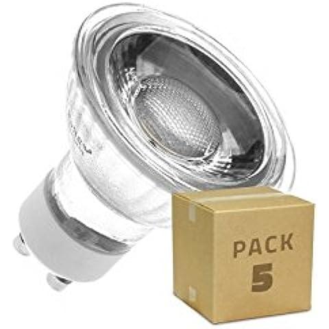Pack 5 Lámparas LED GU10 COB Cristal 220V 5W Blanco Cálido 3000K efectoLED