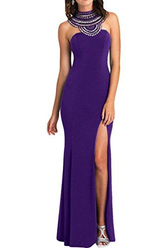 ivyd ressing–Haute Qualité strass fente rueckenfrei mousseline Prom robe Lave-vaisselle robe robe du soir Violet - Violet
