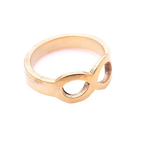 ipink Jewelry Edelstahl vergoldet Infinity Love Ring, Versprechen Engagement Hochzeit Band (Mens Wedding Bands Infinity)