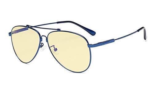 Computer Lesebrille Anti Blaulicht Brillen Pilot Style Memory Rahmen-Gelb Getönte Glas Damen und Herren BLAU+0.00