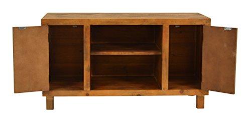 ts-ideen TV-Bank Lowboard HiFi-Schrank Vintage Antik Shabby Design Used Style Massivholz braun zwei Türen mit buntem Muster - 4