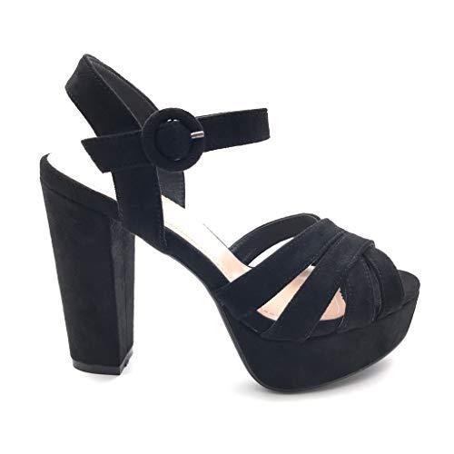 Angkorly - Damen Schuhe Sandalen Pumpe - Abend - High Heels - Sexy - gekreuzte Riemen - Multi-Zaum Blockabsatz high Heel 12 cm - Schwarz 5 X121 T 40 Sexy High Heel Sandalen