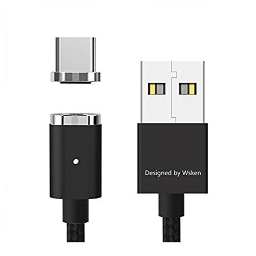 WSKEN Mini 2 Magnetic Typ C Kabel Nylon Geflochten USB C Schnelles Aufladen Daten Synchronisierungskabel Kabel für Samsung GalaxyS8,Note8,HTC10,HuaweiP9,Mate9,Sony Xperia XZ und mehr 3,3ft/1m Schwarz