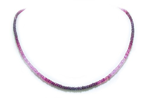 Rubin echt multicolor Halskette Kette Collier facettiert