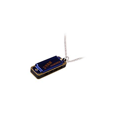 New Cute Swan Mini Harmonica 4Loch 8Tone Halskette Blau mit Box