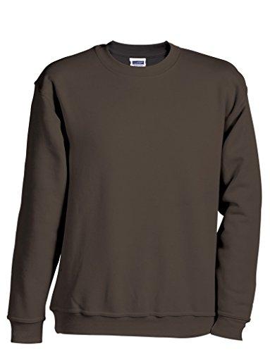 JN040 Round Sweat Heavy Sweatshirt Rundhals Pullover Übergröße, Farbe:BROWN;Größen:5XL (Pullover Brown Cashmere)