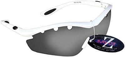 Rayzor profesionales ligeros UV400Blanco Deportes Wrap ESQUÍ Gafas de sol, con una pieza 1con ventilación ahumado espejo antideslumbrante lente