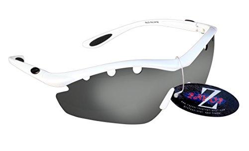 RayZor Professional leichte UV400Weiß Sport Wrap Radfahren Sonnenbrille, mit einem 1Stück Vented Smoked gespiegeltem blendfreiem Objektiv