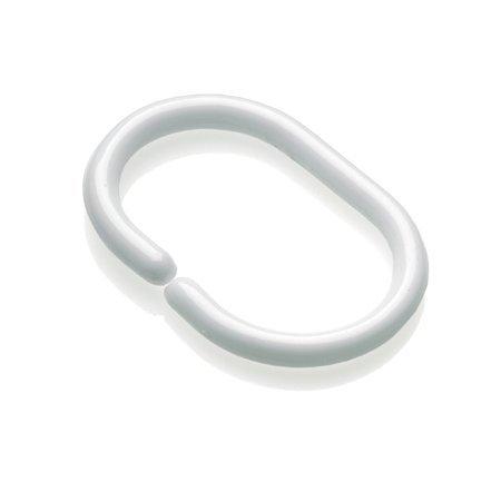 Croydex Clear Lot de 12 anneaux en C pour rideau de douche, Blanc