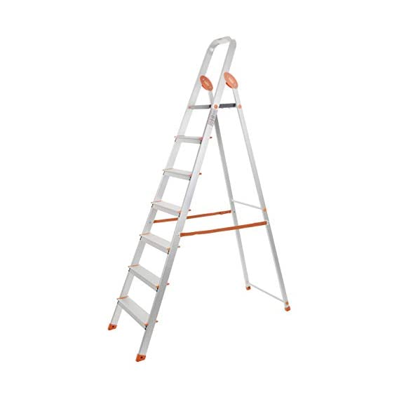 Bathla Advance Carbon - 7 Step Foldable Aluminium Ladder with Scratch Resistant Smart Platform and Sure-Hinge Technology (Silver, Orange and Black)...