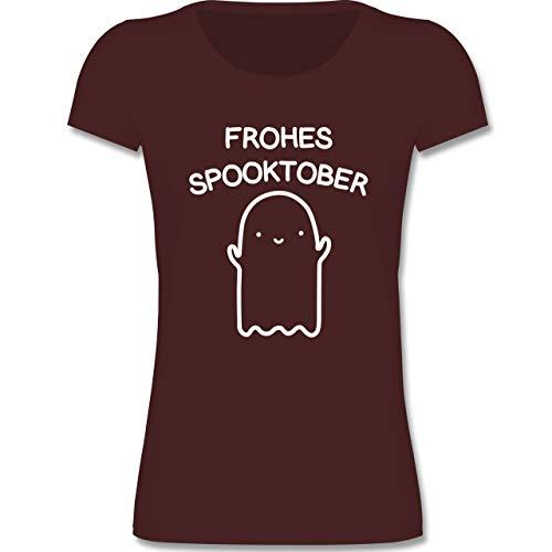 Anlässe Kinder - Frohes Spooktober Halloween - 134-146 (9-11 Jahre) - Burgund - F288K - Mädchen T-Shirt
