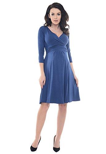 Purpless Maternity V-Ausschnitt 3/4 Arm Schwangerschaft Kleid D4400 (42, Jeans)
