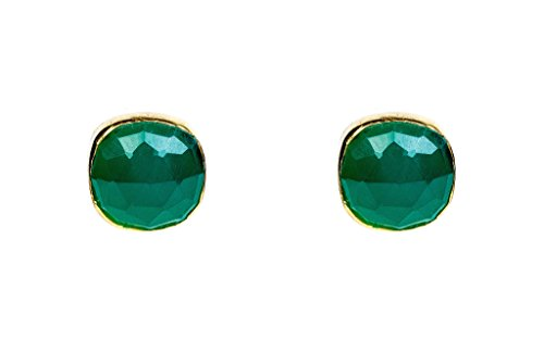Cushion Stud Green Onyx Gold Vermeil