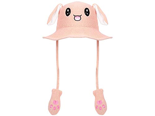 Pikachu Hut Kostüm - Lustige Mütze mit Ohren Festival Bunny Hat Hasen Häschen Hut beweglich Plüsch Pump Airbag 2 Pfoten
