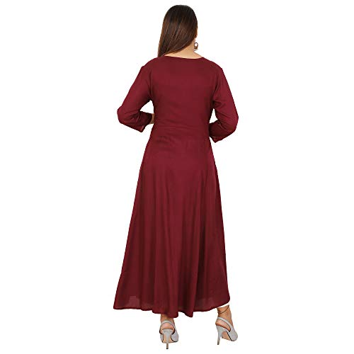 Cottonwalas Women's Rayon Embroidered Ankle Length Anarkali Kurti (Maroon, Medium)