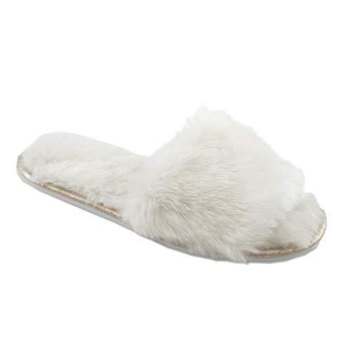 Ciabatte con pelliccia da donna in memory foam babucce morbide pantofole invernali rosso grigio bianco panna (40/41 eu, crema)