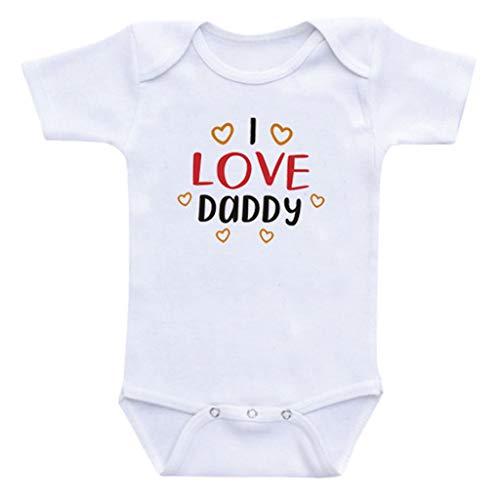 SUNFANY Prinzessin Mini Jumpsuit,Neugeborenes Baby Mädchen Jungen Vatertag Soild Brief Strampler Outfits Set,Baby Geschenk(Weiß, S / 0-3 Monate) -