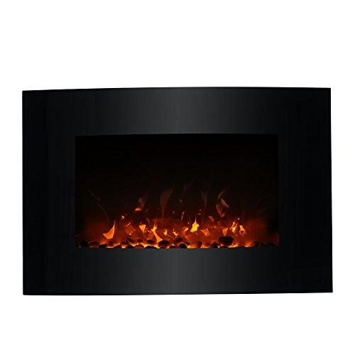 Decdeal 1800W Wandkamin Elektrokamin mit Kiesel Flammeneffekt und Fernbedienung 35