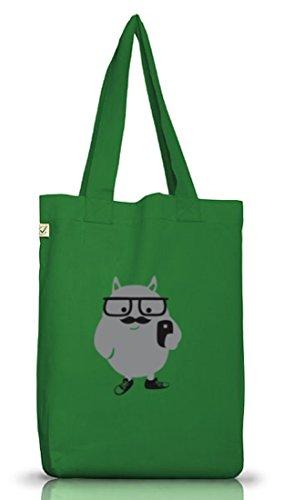 Shirtstreet24, Mostro Hipster, Baffi Jutebeutel Stoff Tasche Terra Positivo (taglia Unica) Verde Muschio