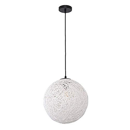 Lampada a sospensione moderna a soffitto in rattan bianco - Lampada a sospensione con paralume in stile palla a sfera - Lampadario decorativo for la decorazione della camera da letto, Soggiorno ideale