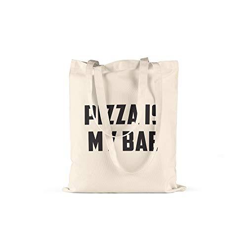 licaso Jutebeutel Bedruckt Pizza is My Bae Print in Natur Baumwolltasche mit Langen Henkeln Beutel Pizza Salami Margarita Pasta Druck Ökologisch & Nachhaltig Tragetasche 100% Baumwolle - Extreme Pizza