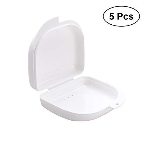 ROSENICE 5 stücke Zahnspangen Box Prothesendose für Aufbissschiene Knirscherschiene (weiß)
