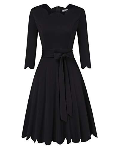 KOJOOIN Damen Cocktailkleid Abendkleid Vintage Rockabilly Kleid 3/4 Ärmel Knielang Festliche Brautjungfernkleider(Verpackung MEHRWEG)