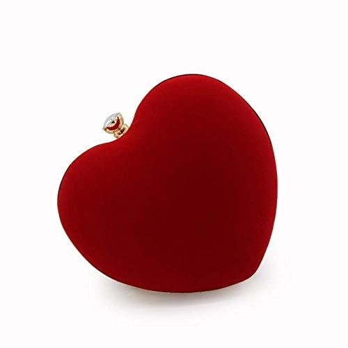 MNLSWYB Damen Clutch ,Vintage Samt Party Tasche in Herzform, rot Abendtasche Elegante Handtasche (Gefütterte Clutch Vintage)