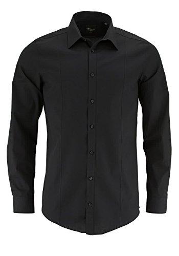 VENTI Body Stretch Hemd super langer Arm Uni Popeline schwarz 001472/80 AL 72 Größe 42 (Herren-stretch-popeline-hemd)