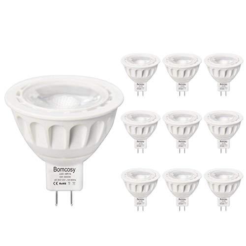 Bomcosy Lot de 10 Ampoule LED GU5.3 MR16 12V 5W 3000K Blanc Chaud 50W Halogène Spot équivalent 420LM Angle de Faisceau de 35° Non Dimmabl
