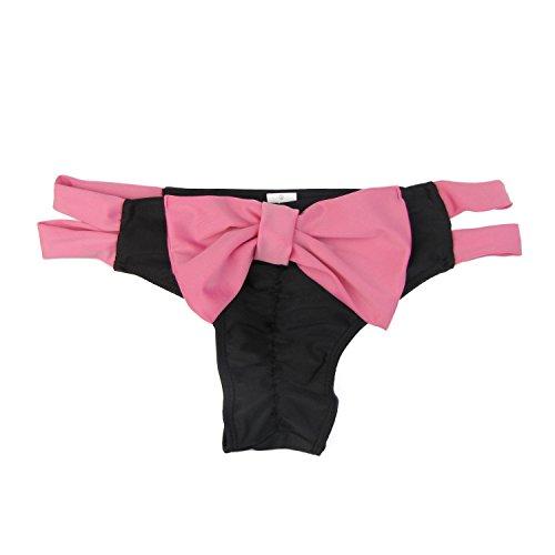 Damen Brazilian Slip Bikini Badehose Strand Mini Tanga Rüsche Design Badeanzüge G-String Unterwäsche Baden Tanga Black+Pink