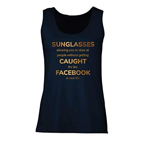 lepni.me Damen Tank-Top Lustiges Facebook-Angebot für Social Media im wirklichen Leben (X-Large Blau Mehrfarben)