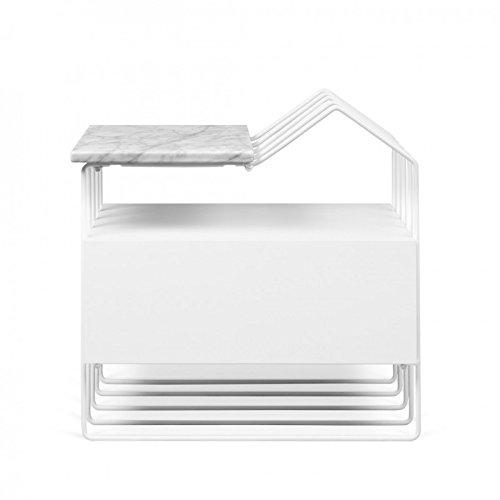 Paris Prix - Temahome - Table D'appoint Design Drum 57cm Marbre Blanc
