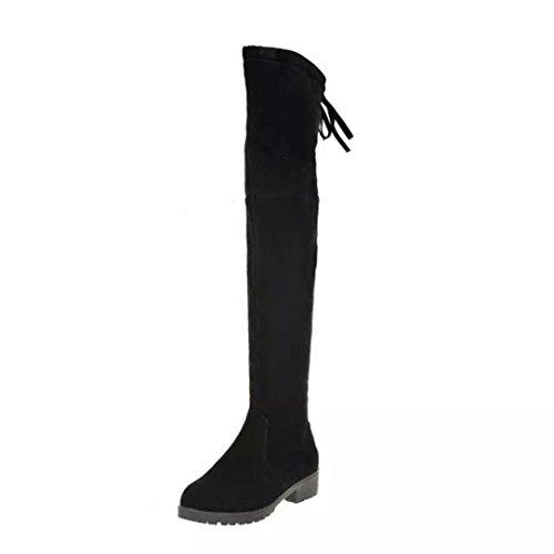 Vovotrade® Donne di età media inferiore del tacco ginocchio gamba stivali lunghi Nero