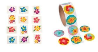 100 HIBISCUS Flower STICKERS & 72 Hibiscus Glitter TATTOOS/LUAU Party/TROPICAL/DECOR/Girl's PARTIES/Favors by FX