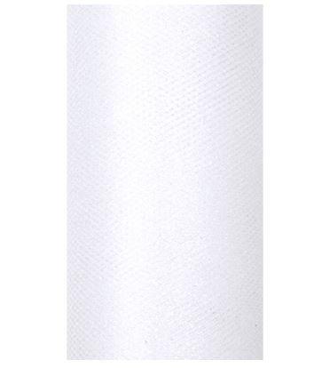 Partydeco Tischläufer Glitzer aus Tüll für Hochzeiten oder Weihnachten weiß 15 cm x 9m
