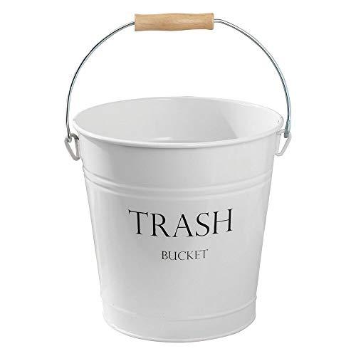 mDesign weißer Abfallsammler aus Metall - perfekt als Mülleimer in der Küche, Papierkorb im Büro oder Abfalleimer im Bad - Tragegriff aus Holz - Landhaus-Stil - 12,5 L Füllmenge (Holz-küche-mülleimer)