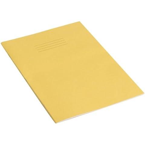 Rhino - Cuaderno (A4, 32 páginas, mitad blanco y mitad rayas, 10 unidades), color amarillo