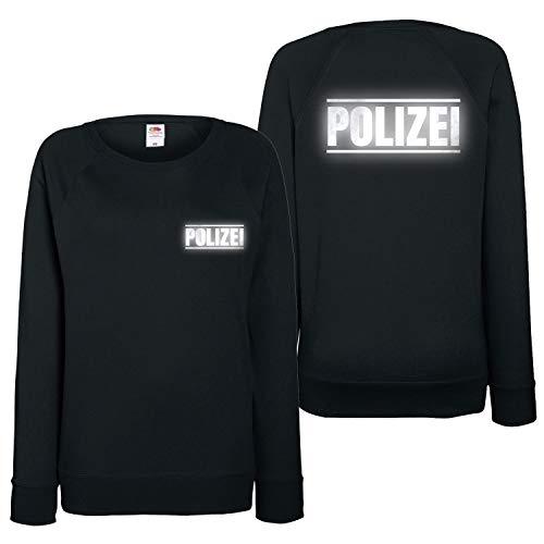 Shirt-Panda Damen Polizei Sweatshirt Druck mit Streifen Brust & Rücken Schwarz (Druck Reflex) XS