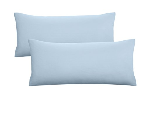 Biberna 0077144 Jersey-Kissenhüllen aus 100 % Baumwolle mit Reißverschluss, 2er-Pack, 40 x 80 cm Blau, 27 x 18 x 3 cm