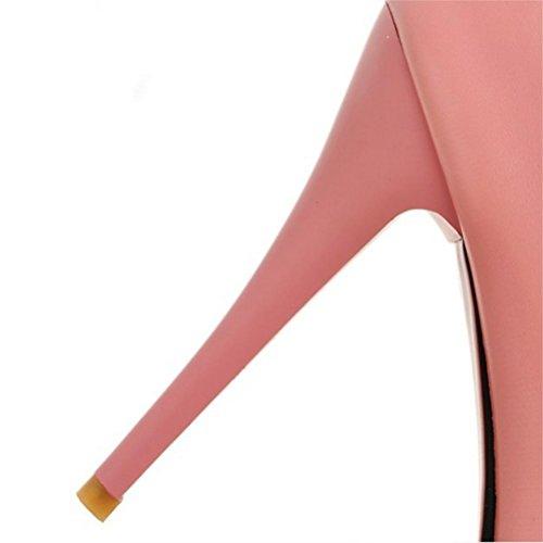 QPYC Tacco alto da donna tacco alto scarpe pigro scarpe bocca superficiale fine con impermeabile grandi scarpe da sposa codice piccolo Taiwan Pink