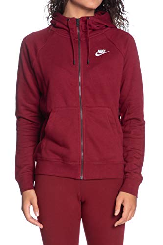 Nike W NSW Essntl Hoodie FZ FLC Hooded Full Zip LS Top, Donna, Donna, BV4122 677, Rosso, Bianco (Team Red/White), S