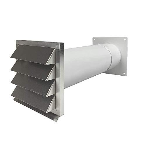 EASYTEC Energiesparender Mauerkasten Ø 125 mm Edelstahl mit zwei Rückstauklappen 3350661116143