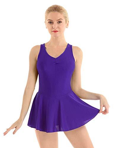 Agoky Damen Ballettkleid ärmellos Tank Top Ballettanzug Tanzkleid mit Faltenrock Gymnastikanzug Ballettkleidung gr. S M L XL Dunkel Lila M -