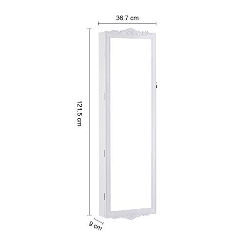 LANGRIA Hängend Schmuckschrank Spiegelschrank Türmontage/Wandmontage mit 2 Schubladen und 3 Höhenverstellbarkeit (36,7 x 9 x 121,5 cm, weiß) - 5