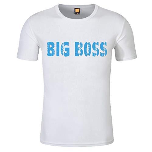T-Shirt Herren Volltonfarbe Printing Tee Kurz Ärmel Rundhals Kurzarmshirt Mode Lässig Shirts Elastisch Slim Kurzarmhemd Oberteile Tops ()