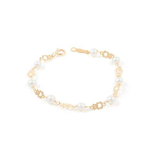 d77a7b5a1ef4 Pulsera bebe oro oso calado con perlas
